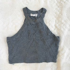 Cotton candy grey knit crop top